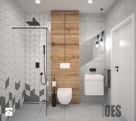 Aranżacje Wnętrz łazienka Szara łazienka średnia