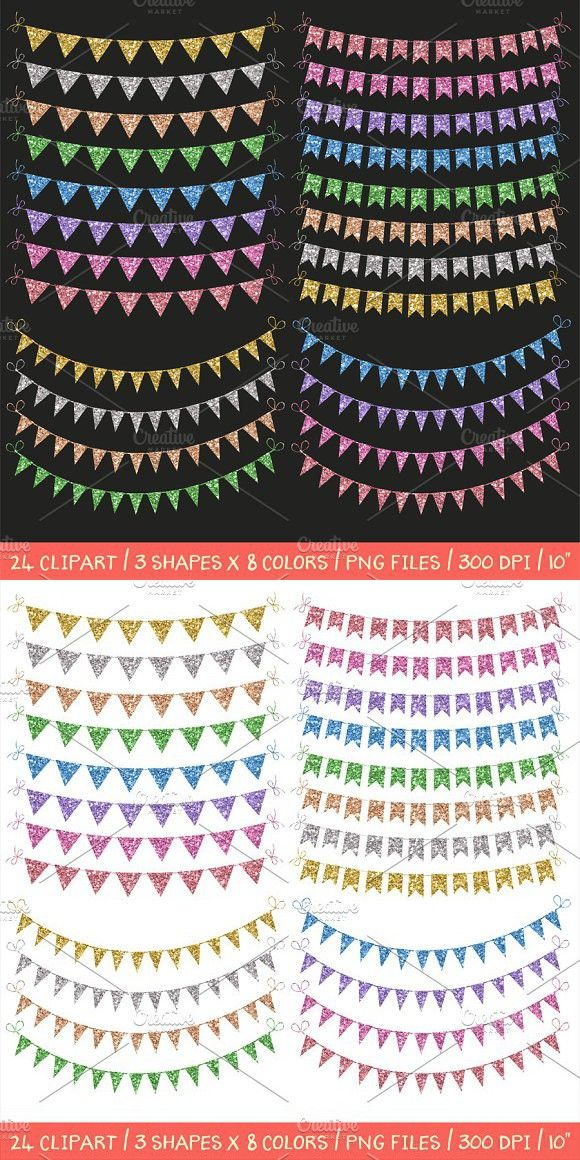 Glitter bunting banners clipart. Objects. $4.00