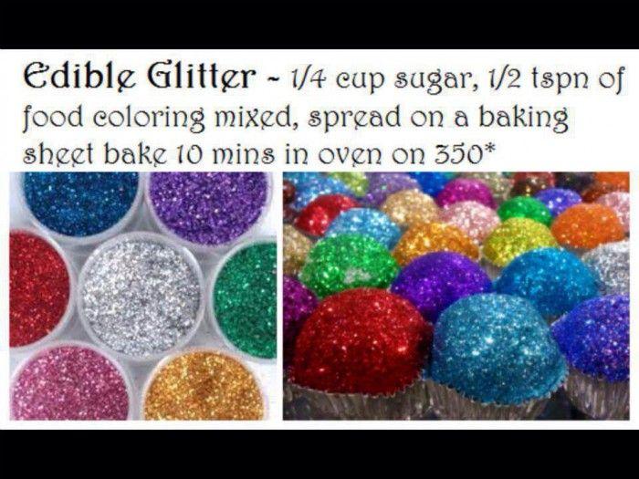 Eetbare glitter die je kunt gebruiken als garnering voor bijv cupcakes en taarten is gemakkelijk zelf te maken. Meng een half theelepeltje levensmiddelenkleurstof (in poedervorm) met een half kopje suiker en drupje water in een klein potje. Schud het potje goed en giet de inhoud op een stuk bakpapier of bord. Laat het een half uurtje drogen (kan ook op lage temperatuur in de oven) en roer het daarna even flink door ivm evt suikerklontjes