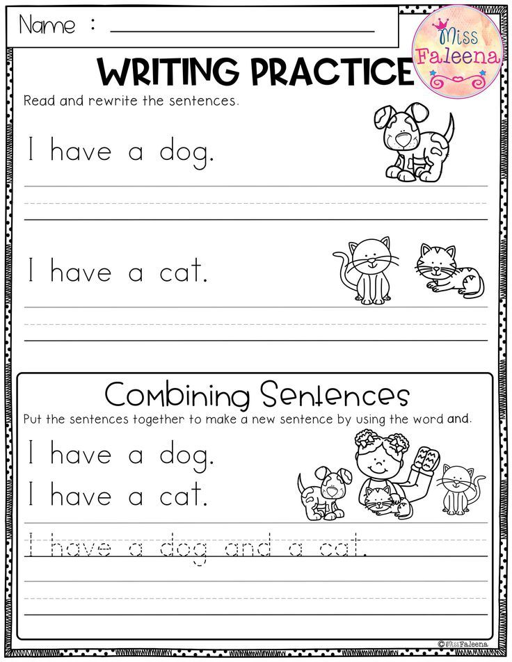 Free Writing Practice Combining Sentences This Product Has 3 Pages Of Sen Writing Sentences Worksheets Kindergarten Worksheets Printable Writing Worksheets Printable writing kindergarten worksheets