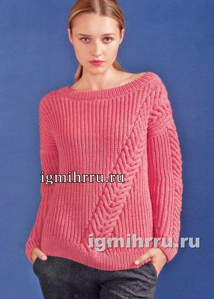 Розовый пуловер с диагональной «косой». Вязание спицами