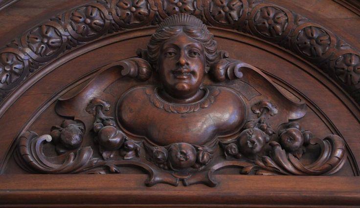 Large antique Napoleon III style fireplace in walnut wood
