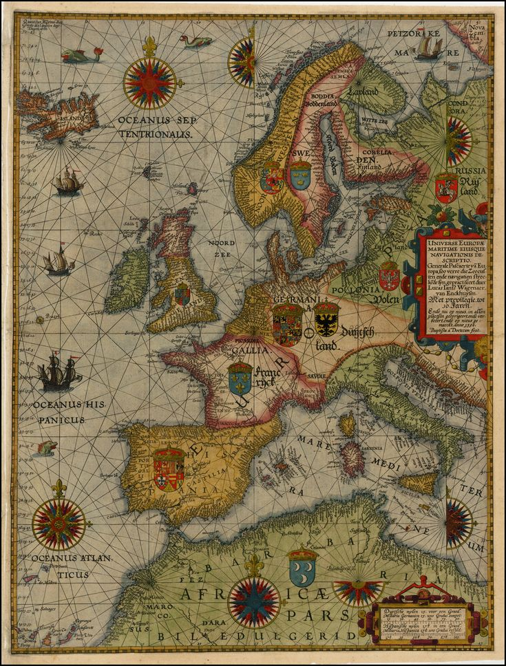 "Sea chart of Europe, 1592. ""Universe Europe Maritime Eiusque Navigationis Descritio. Generale Paschaerte van Europa'. Map Maker: Lucas Janszoon Waghenaer. Place: Antwerp. Etching by Johannes Baptista Van Doetechum The Younger (""Baptista a Doetecum fecit"")"