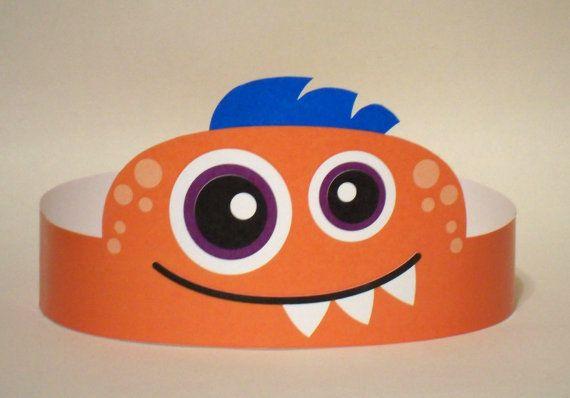Orange Monster Paper Crown Printable por PutACrownOnIt en Etsy