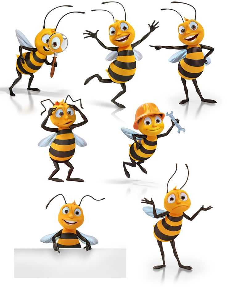 3D illustrations of bee characters for simple site