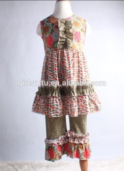 ruffle dress and loose pants new fashion outfits western girls dress sets wholesale children's boutique clothing