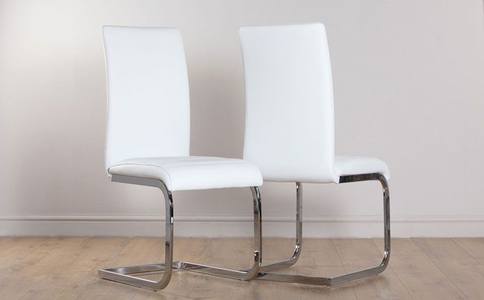 Perth White Leather Dining Chair