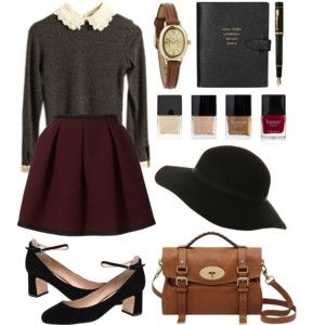 gray peter pan collar sweater, deep red pleated skirt, black and brown accessories
