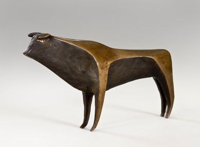 A CONTINENTAL PATINATED BRONZE SCULPTURE OF A BULL, UNSIGNED, IN THE MANNER OF GIO PONTI  prodimage_title