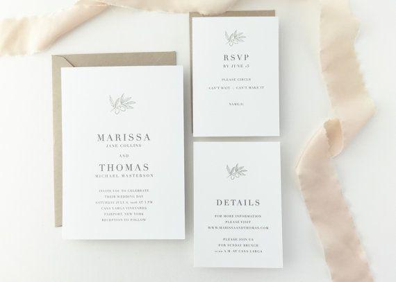 PAPER SAMPLE Marissa Vineyard Wedding Invitation / Simple Save the Date / Rustic Wedding Invitation / Letterpress Invitations / Olive