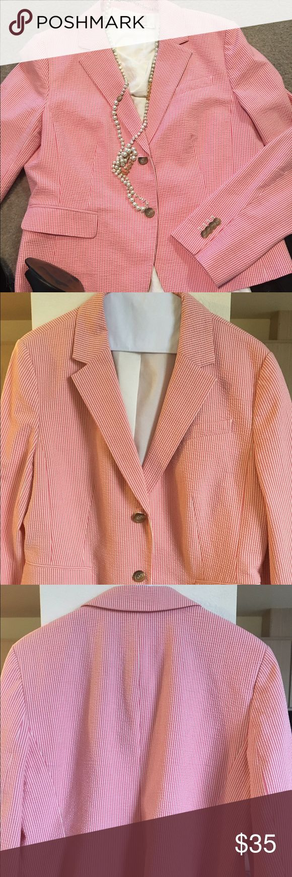Seersucker coral/peachy jacket by Ann Taylor This seersucker jacket can be your casual go to or for work. The coral/peachy color looks great with black or cream. The ability to dress it up or down makes it a great staple. Shell is 97% cotton and 3% spandex. Lining is 100% polyester. Jacket is dry clean only. Ann Taylor Jackets & Coats Blazers