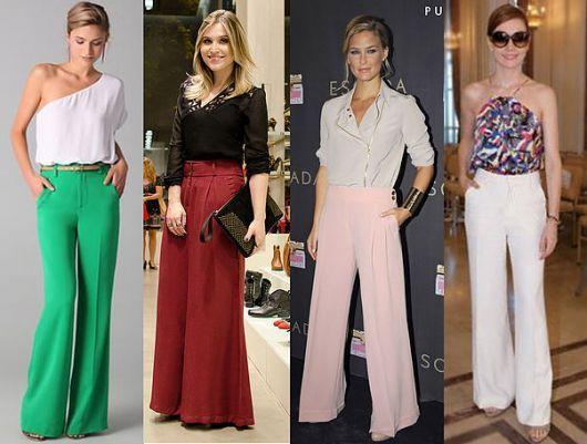 Pantalona com blusas coloridas e decotadas