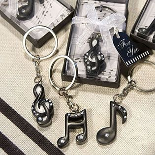 Musical Note Key Chain Favors - Your guests will be charmed with our exquisite musical note key chain favors. These unique favors are ideal for any occasion and harmonize perfectly with any décor. http://www.favorfavor.com/page/FF/PROD/6460