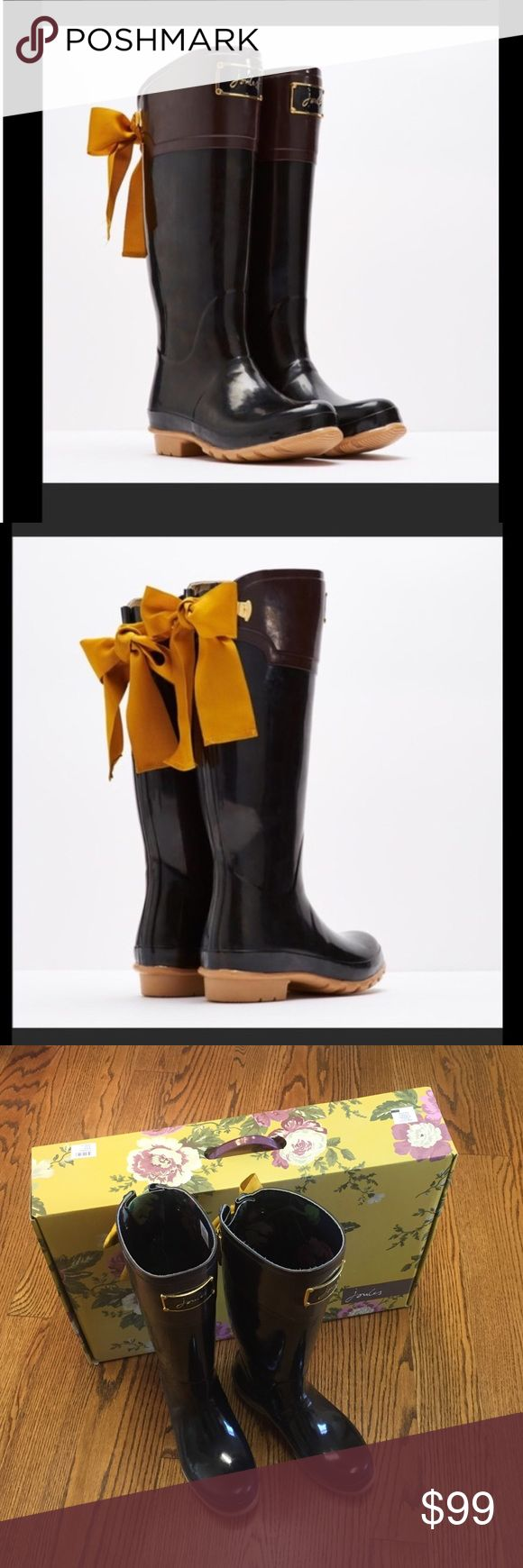 Joules EVERDON black brown bow wellies boots 6 8 Mustard yellow grosgrain ribbon bows at back of calves - worn once! Like new! Joules Shoes Winter & Rain Boots
