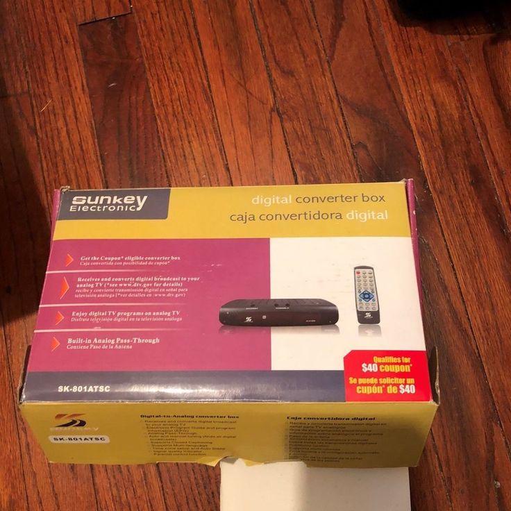 SUNKEY ELECTRONIC DIGITAL TV CONVERTER BOX SK-801ATSC Untested Analog Signal #Sunkey