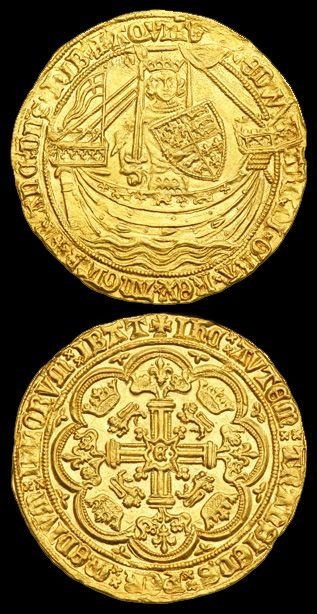 """Gold Noble (S.1521) of King Edward III (1327-1377).  Post-treaty period (1369-1377). Obv - King standing in ship.  Rev - Royal cross in tressure, """"E"""" and pellet at the center.  Flag at stern, signifying Calais mint.  Image by kind permission of:  Ira & Larry Goldberg Auctioneers Inc."""