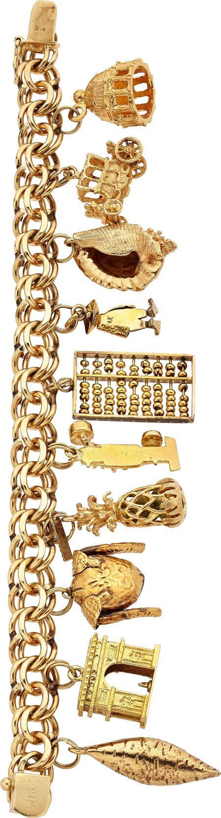 Estate Jewelry:Bracelets, Gold Charm Bracelet