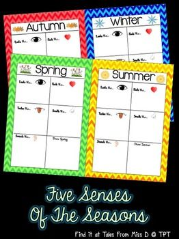 Five Senses Of The Seasons Activity is useful all year round. Students will use adjectives to describe Spring, Summer, Autumn and Winter. There is also a section to draw a picture to match each season.
