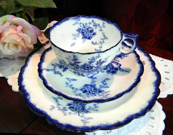 Antique Flow Blue Cup Saucer and Plate Trio Unknown Maker 3668