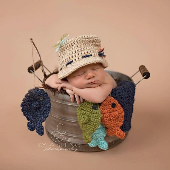 Crochet Fisherman Hat, Baby Fishing Hat, Newborn Photo Prop