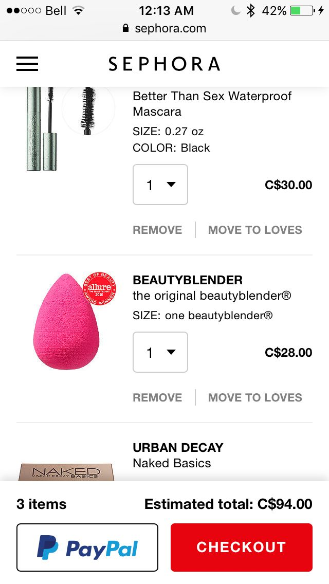 Two faced better than sex waterproof mascara, the original beauty blender and the first naked basics palette (has 6 matte colours)