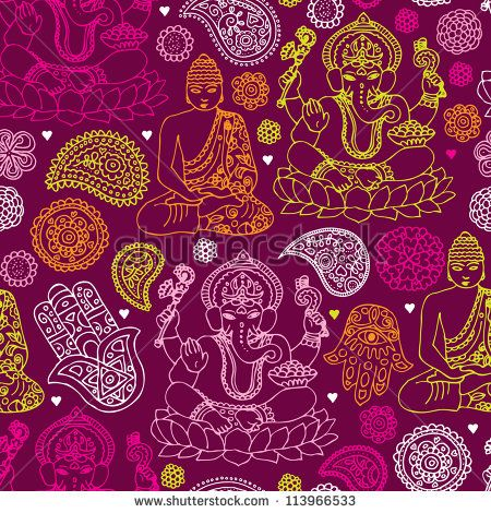 Seamless buddha india yoga background pattern in vector - stock vector