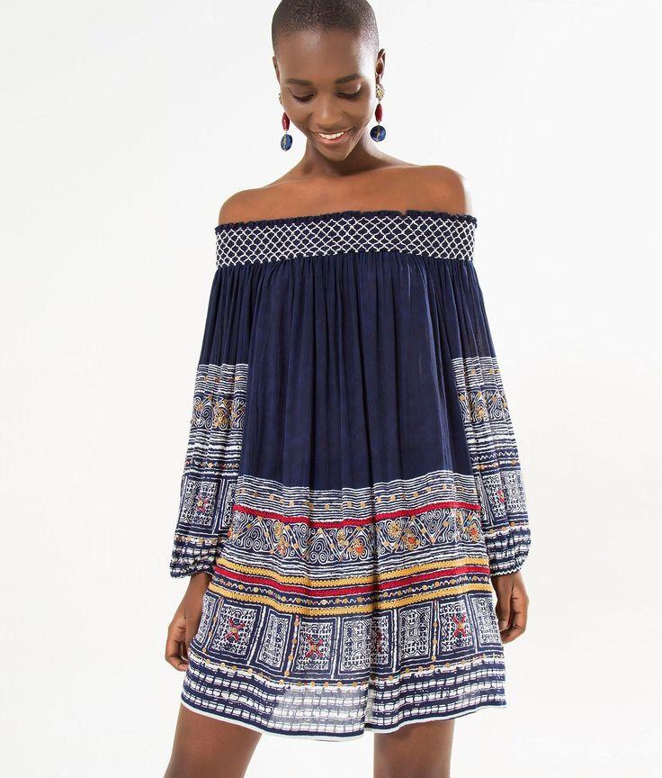 vestido ombro a ombro bordado