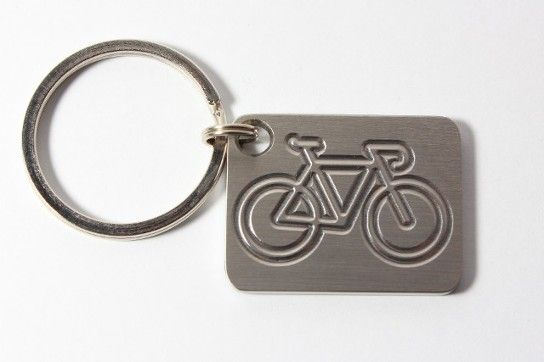 Bicycle stainless key chain made by www.vermontcnc.com