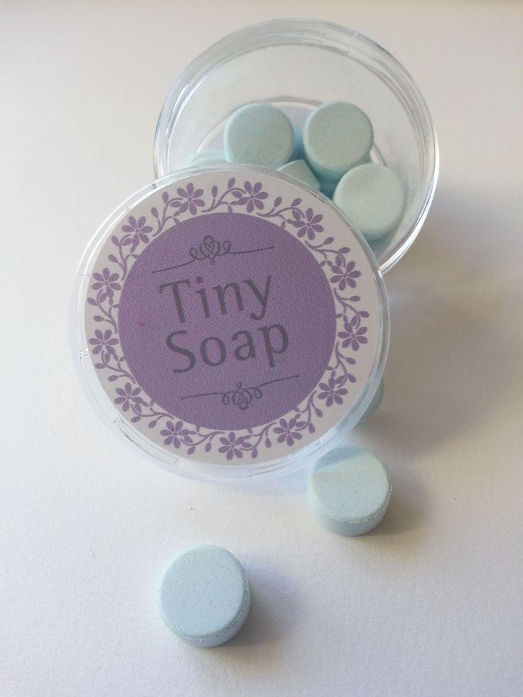Jabones en forma de pastillas fragancia a lavanda, de disolución instantánea, súper prácticos para que te acompañen a donde vayas.
