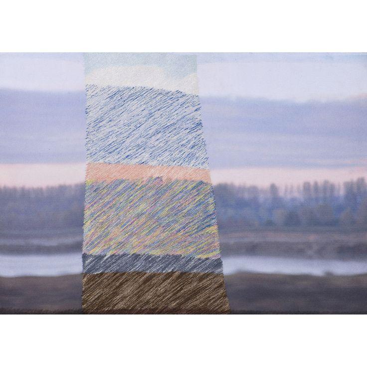 Aurélie Mathigot (née en 1971) Sans titre, 2014 Photo imprimée sur toile, broderie de fil Signée, datée 2014 et numérotée 1/1 au dos 46 x 65 cm