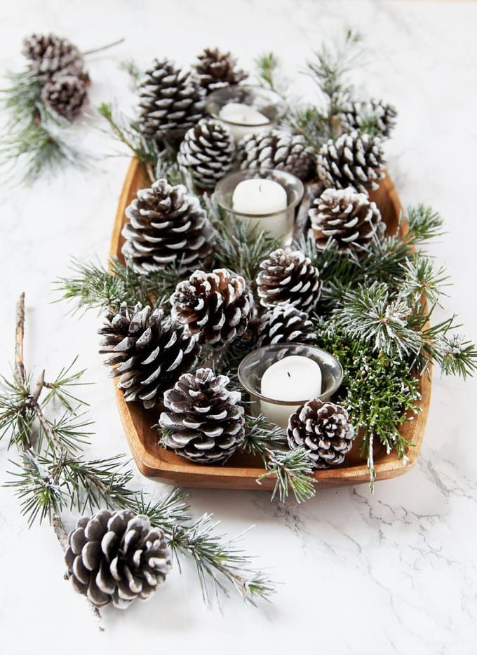 3 Minute Diy Snow Covered Pine Cones Branches 3 Ways Pine Cone Christmas Decorations Christmas Pine Cones Christmas Centerpieces