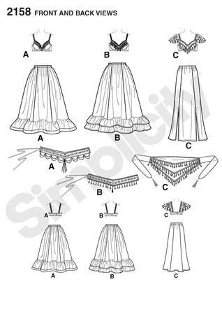 Diy Pattern-Belly Dance Tribal Pattern-Plus Size-Bra,Fringe Belt,Circle Ruffle Skirt Pattern-Simplicity 2158,Plus Size. $6.00, via Etsy.