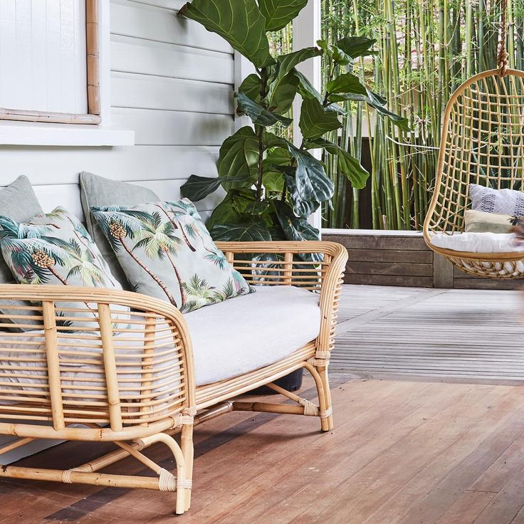 Our Lounger and Coco hanging chair are a match made in heaven for your verandah/deck. Ps both are almost sold out again on our next shipment arriving in 4 weeks. Be quick! Styled by @thefashionablegypsy, photo by @jessie.and.jones and location @byron_beach_abodes #byronbayhangingchairs #canefurniture #rattan #swingchair #hangingchair #daybed #verandah #bohovibes #coastalluxe #loungechair #cottage #byronbay