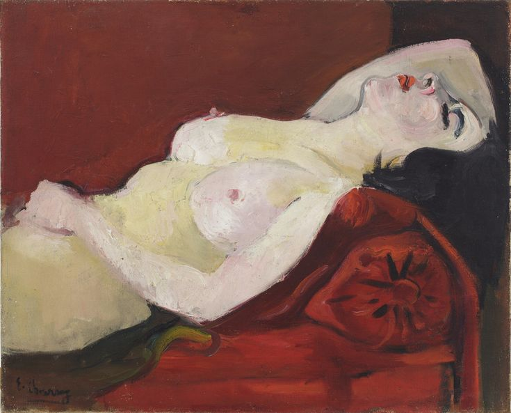 Émilie Charmy, Nude on Red Sofa, 1925.