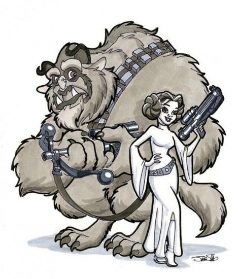 10 Illustrations Of Disney Characters Sneaking Into Star Wars - includes Rapunzel, Lilo and Stitch, Baloo the Bear, among others.