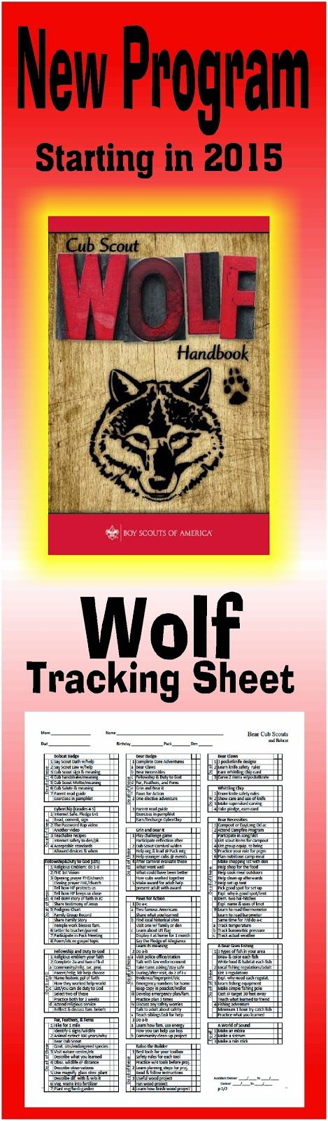Need a way to track WOLF *, Cyber Chip and Adventure requirements for the NEW Cub Scout Program? This is a great free PRINTABLE Tracking sheet for Organizing. This site has other tracking sheets and a lot of great Cub Scout Ideas compliments of Akelas Council Cub Scout Leader Training. Utah National Parks Council has planned this exciting 4 1/2 day Cub Scout Leader Training that covers lots of Cub Scout Info and Webelos Outdoor Experience, and much more. For more info go to AkelasCouncil.com