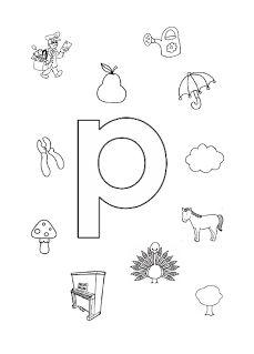 Welk plaatje/woord begint met de letter p?
