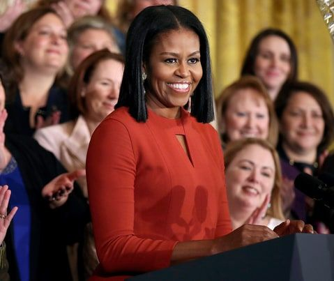 First lady Michelle Obama smiles as she speaks at the 2017 School Counselor of the Year ceremony in the East Room of the White House in Washington, Friday, Jan. 6, 2017. AP Photo/Manuel Balce Ceneta. Her final speech as FLOTUS.