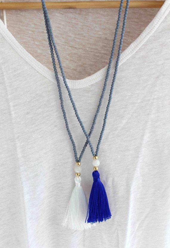 Collier long perlé gris et blanc collier par lizaslittlethings