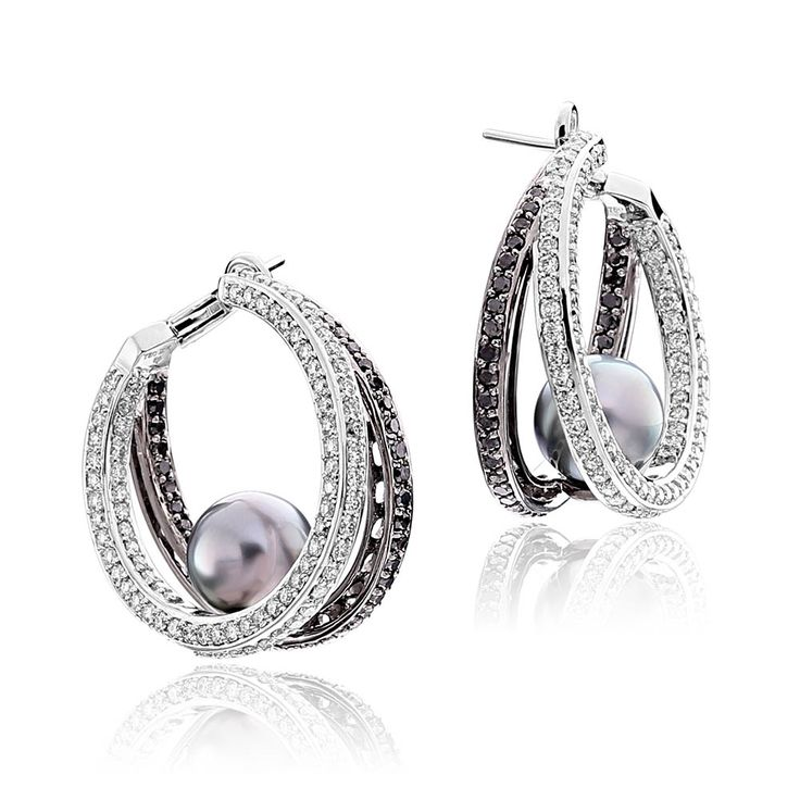 Perle Collection White Gold Tahitian Pearl Hoop Earrings With And Black Diamonds