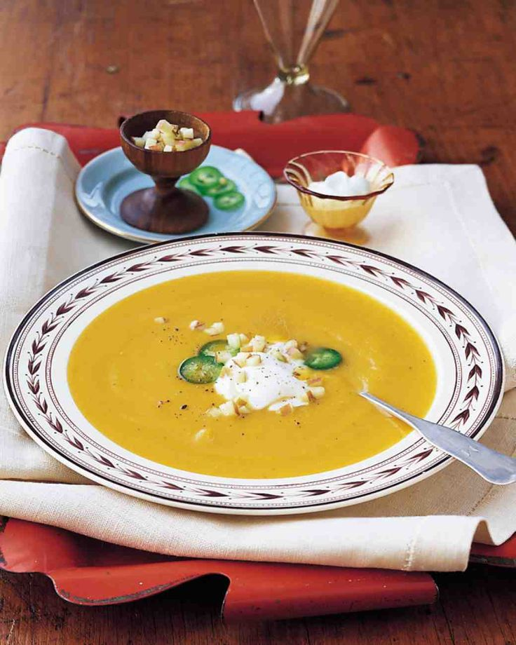 Apple-Butternut Squash Soup - easy, delicious with just the right hint of sweet and heat. I used a cup and a half of veggie broth instead of water but the rest was as is. I didn't do the garnish. Just lovely!