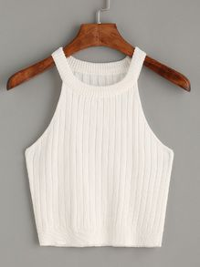 White Knitted Tank Top