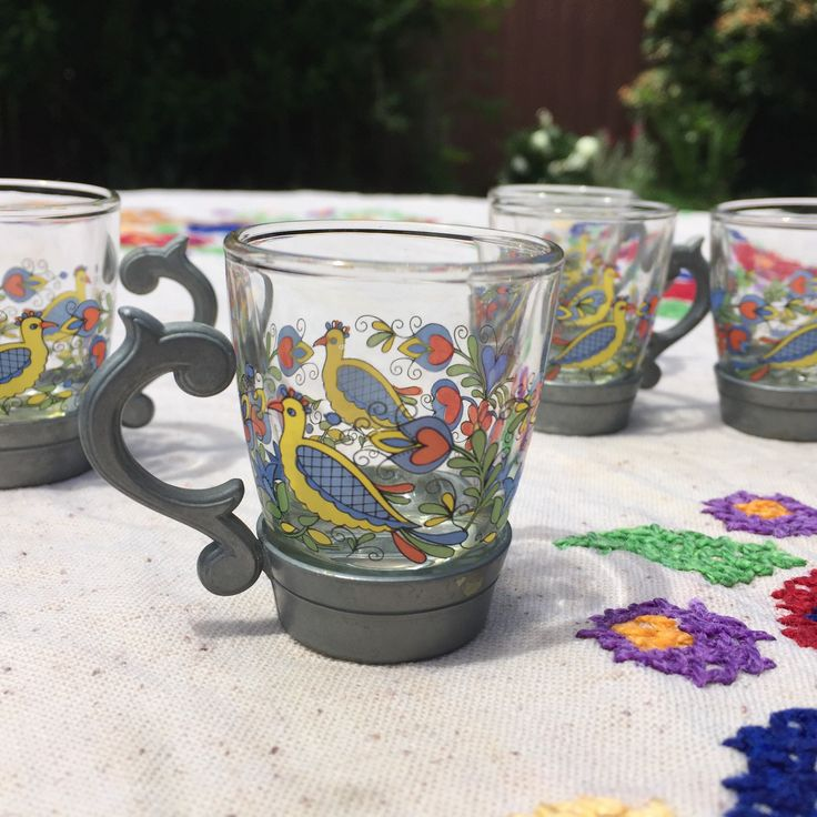 French Shot Glasses  Mid Century  Pewter + Painted Glass   Flowers U0026 Birds  · Schnapsglas SetZinn FarbeGlasblumenSkandinavisches DesignIkeaMitte ...
