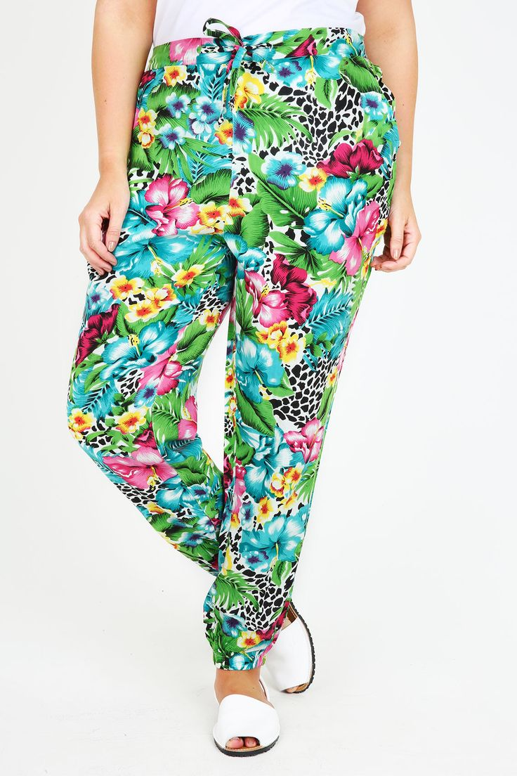 Multicoloured Tropical Animal Print Harems With Pockets