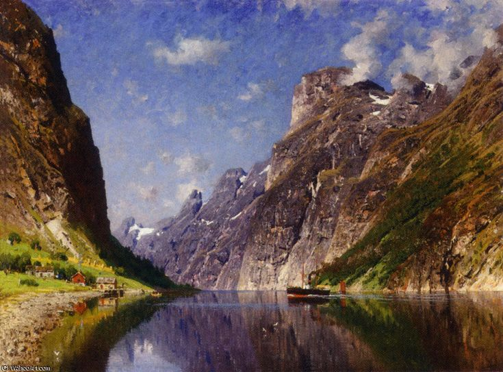 ViewofaFjord Grand de Adelsteen Normann (1848-1918, Norway)