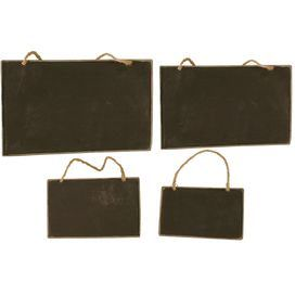 "Set of 4 hanging metal chalkboards with weathered frames.     Product: Small, medium, large and extra large chalkboard   Construction Material: Metal and rope   Color: Black and brown   Dimensions: 10"" H x 6"" W (large)"