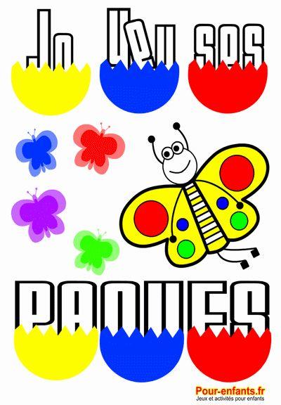 Joyeuses Pâques en grand  à imprimer gratuit grandes lettres dessin de PAQUES oeufs papillon