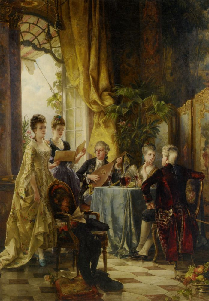 A Musical Evening, Carl Herpfer (German), born 1836- died 1897
