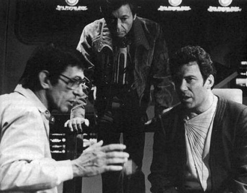 Leonard Nimoy directs DeForest Kelley and William Shatner, Star Trek III: The Search For Spock, 1983