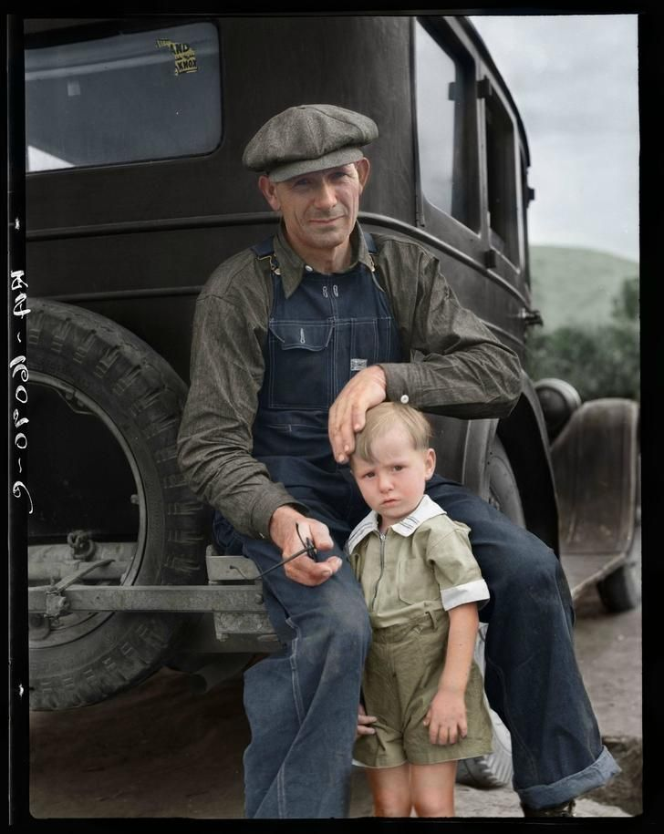 Pin 7: This is a father and son during the great depression. This image reminds me of the father and son relationship between George and Lennie